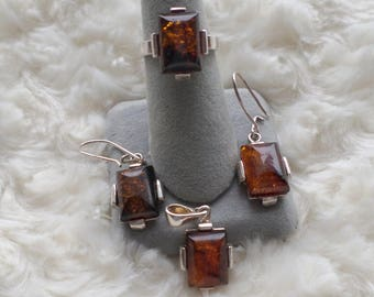 Natural Amber jewelry set
