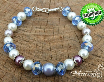 Blue White Purple bracelet Swarovski crystal bracelet Multi color Feminine bracelet Bridal Pearl Wedding yewelry Christmas gift idea Frozen