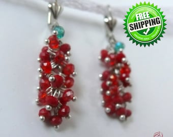 Long Red Cluster Earrings Dangle Sparkle Crystal Earrings Red grapes Red currant Red beads cascade Xmas Christmas Holiday gift idea Earrings