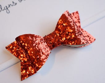 Ruby Red Glitter Bow - red glitter bow, nylon bows, baby bow set, sparkly bow, first birthday bows, hair bows for kids, newborn bow set,