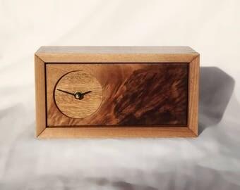 Clock, Desk Clock, Wood Clock, Walnut Dovetail Clock