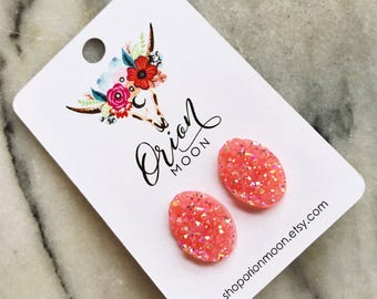 Easter egg peach pink 13x18 faux druzy studs
