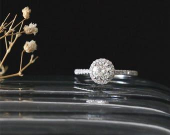 C&C Moissanite Engagement Ring 5mm Round Cut Forever Classic Moissanite Ring Half Eternity Diamond Ring Halo Ring 14K White Gold Bridal Ring