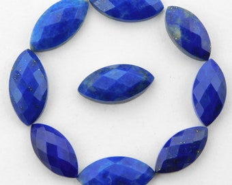 25 pieces lot natural lapis lazuli marquise shape checker cut loose gemstone for jewelry