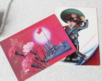 Set of 2 Vintage Soviet Glory to October Revolution postcards communist sign Propaganda Postcards 80's from Russia Soviet Union USSR unused