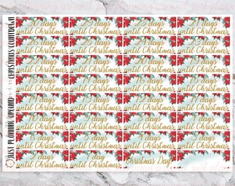 Christmas countdown, Christmas stickers, for use with Erin Condren, happy planner