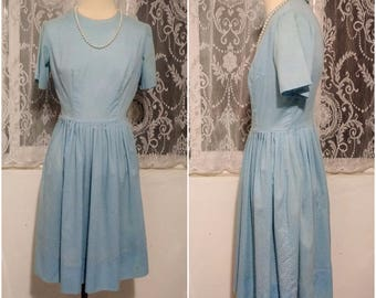 Darling 1950s Robin Egg Soft Blue Dress with White Polka Dots Size Small ILGWU Tag Free USA Shipping