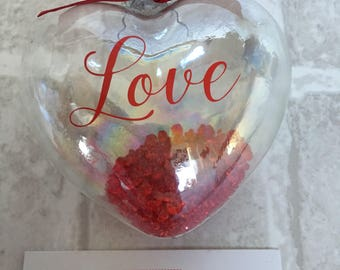 Love heart glass bauble, valentine gift, anniversary present, keepsake bauble, love token