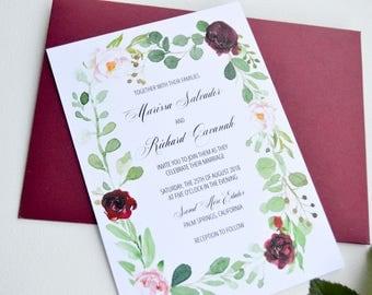 Floral Wreath Wedding Invitation Template, Greenery, Marsala Invitation, Wedding, Invitation Set, Printable invitation Suite, Calligraphy