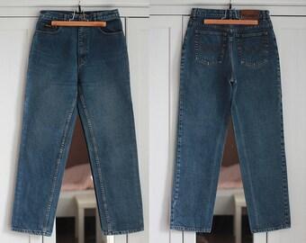 Vintage Jeans WRANGLER Navy Blue High Waisted Denim Retro Pants Trousers Unisex Women Men Classic Fit W29 / Medium size