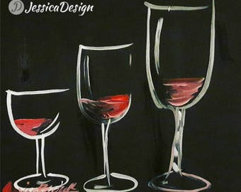 """Wine Glasses Painting created with Acrylic Paint, Acrylic on Canvas, 9"""" x 12"""""""