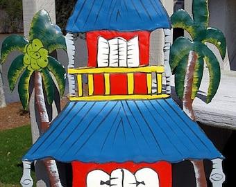 Haitian Metal wall art Decor Hand Painted Beach House with Palm Trees