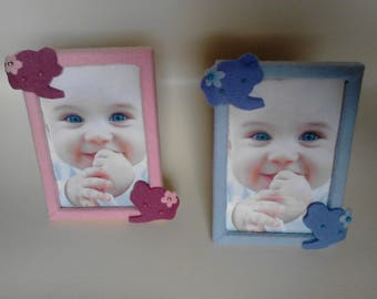 KIT photo frame with glass and felt color: sky blue or pink for baby's room