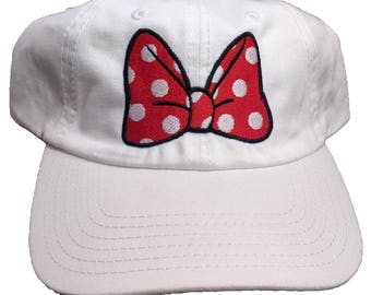 Minnie mouse Bow Washed Cotton Six Panel Dad Hat With Bronze Buckle