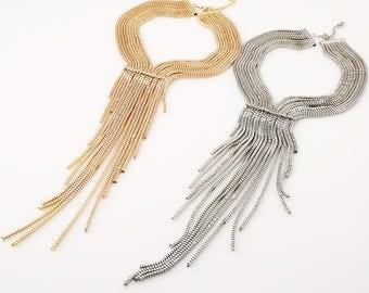 Long Tassels Necklace, Silver Gold Tassel Necklace, Silver long necklace, Gold long necklace