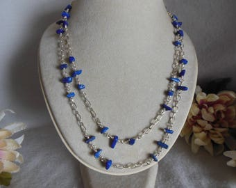 Blue Chip & Chain Necklace
