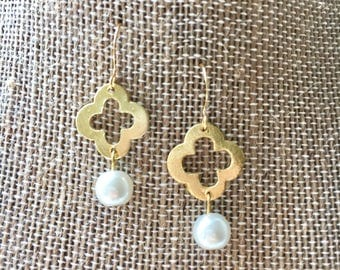 Gold and Pearl Drop Earrings