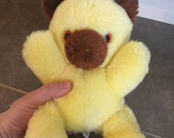 Vintage Yellow Musical Teddy bear rock a bye baby