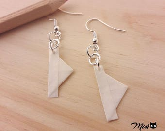 Origami paper boats Earrings: back to childhood [hand-made jewelry.