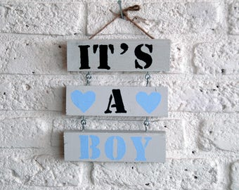 Wooden text sign ' it's a Boy '