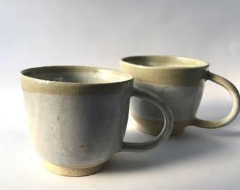 Set of 2 Wheel Thrown Ceramic Stoneware mugs | FREE SHIPPING