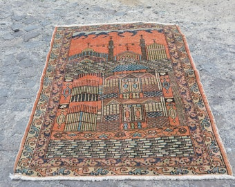 Made in 1970s Vintage Turkish Rug Unique Design Oushak Rug Free Shipping Turkey Area Boho Rug Traditional Designs Turkish Carpet Code 500