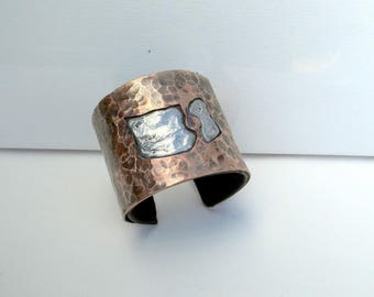 contemporary, Cuff Bracelet copper hammered textured pewter ethnic cuff, large copper bracelet, women cuff