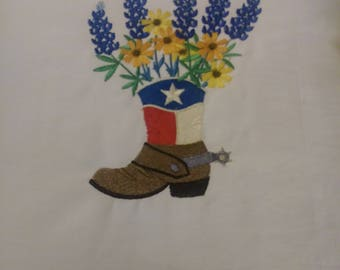 Pillow Boot with Bluebonnets