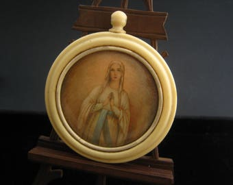 Vintage french Virgin Mary celluloid frame  - Religious  item