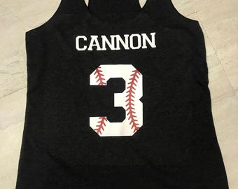 baseball number with name racerback