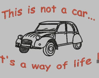 2cv Way of life embroidery file