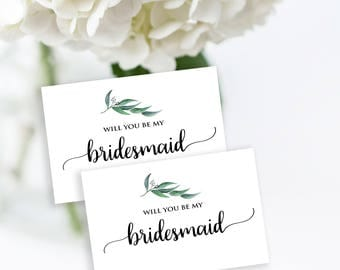 Will You Be My Bridesmaid, Bridesmaid card printable, Greenery bridesmaid card, Botanical bridesmaid card, instant download bridesmaid card