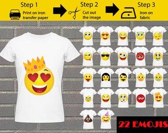 22 Pack Printable Emoji  Iron on transfers  / Emoji iron on for shirts / Emoji Birthday&Party shirt /Instant Download