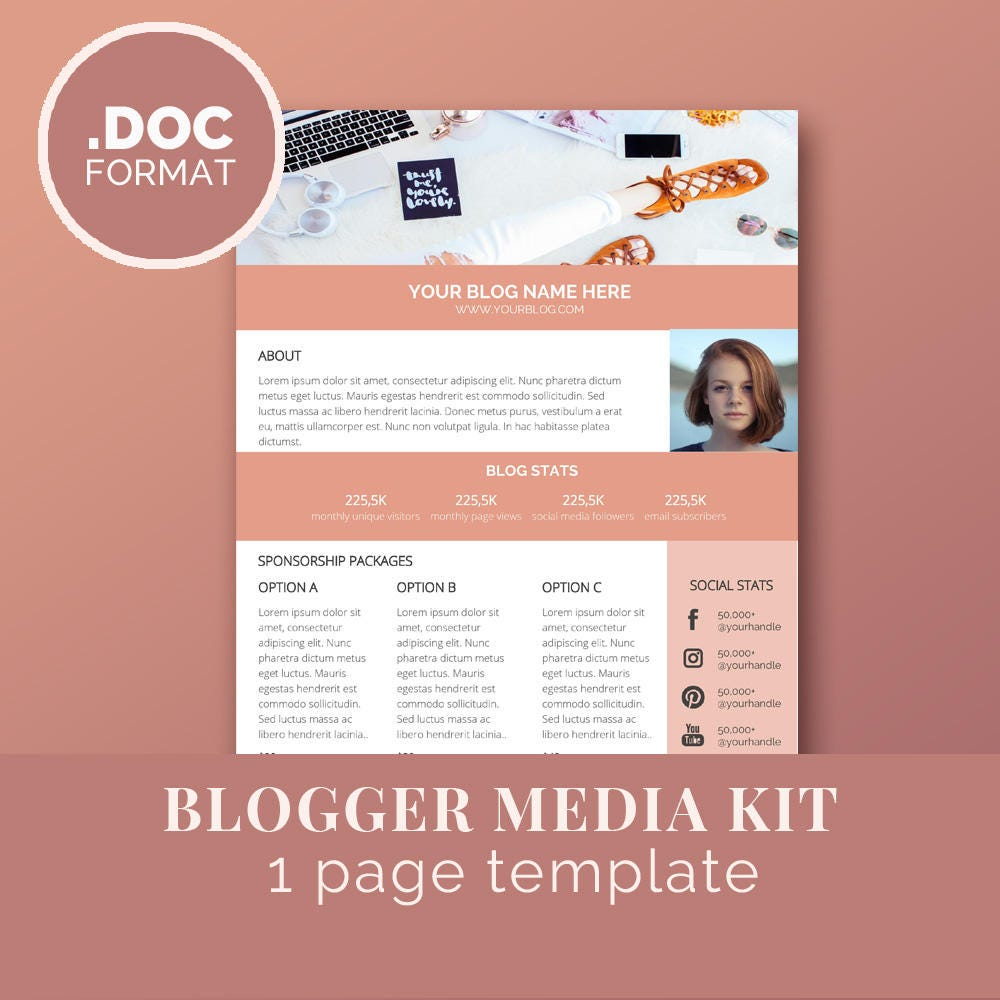 media kit template blog marketing kit word template. Black Bedroom Furniture Sets. Home Design Ideas