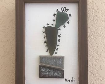 Genuine Sea Glass Cactus Succulent Original Artwork