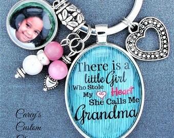 Stole My Heart She Calls Me Grandma Custom Photo Charm Key Chain Ring, Picture Charm, Mimi, Nana, Oma, Nonna, Abuela, Grandmother Keychain