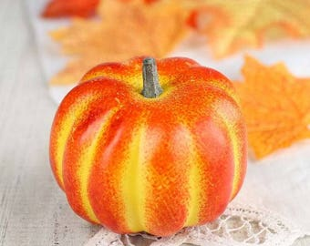 Set of 6 Autumn Harvest Artificial Small Pumpkins