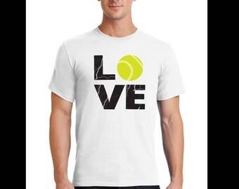 Unisex T-Shirt-tennis t-shirt-love tennis t-shirt-sporting t-shirt-gift shirt-white tennis t-shirt-athletic tee-hobby t-shirt-tennis