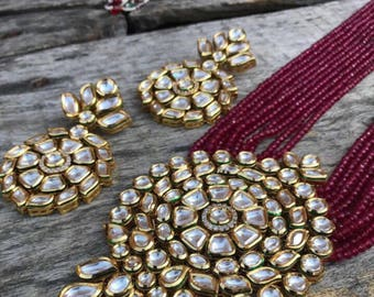 Kundan beads Jewellery set (necklace and earrings)