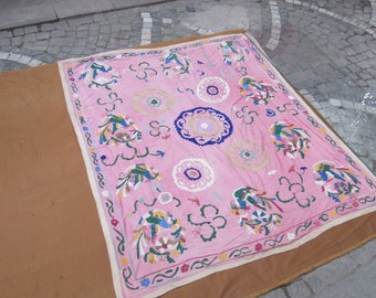 Pink Color Vintage Suzani,needlework bedding,hand made bedspread,middle old textile,5'9 feet x 5'2 feet,n:87