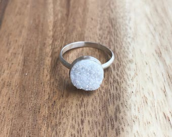 White Druzy Ring, 10 mm Silver Druzy Ring, Druzy Ring, white Druzy, White Drusy, Druzy Jewelry