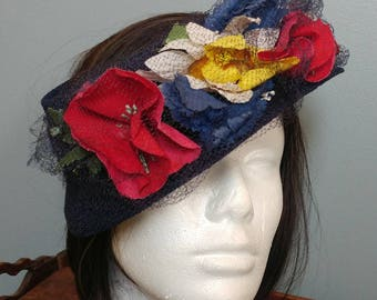 Vintage 50's Circle Hat With Vibrant Flowers //  Navy Blue Fascinator Hat