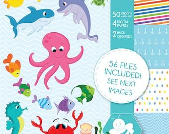 Sea animal clipart commercial use, vector graphics, digital clip art, digital images, CL0023