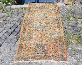 Free Shipping Turkish Rug 2.6 x 6.3 feet Vintage Anatolian Wool Rug Oushak Rug Area Rug Aztec Rug Floor Rug Bohemian Rug Ethnic Rug