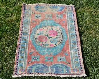 Free Shipping Decorative Turkish Rug 2.3 x 3.7 feet Vintage Boho Decor Rug Oushak Rug Handknotted Wool Rug Floor Rug Area Rug DC732