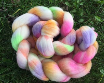 Merino Roving, Lollipop,  4 Ounces, Hand painted, Hand Dyed, dyed merino