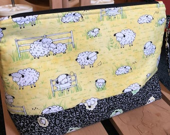 Sheep Knitting Bag, Project Bag, Zippered Crochet Bag, Fiber storage, Zipper Project Bag, Tea Project Bag, Travel Knitting Bag