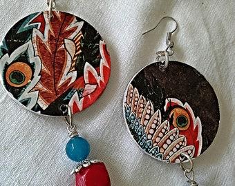 Hokusai, pendant earrings, la Fenice, bright colours, original earrings