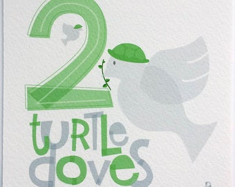 Two Turtle Doves Hand-lettered Print