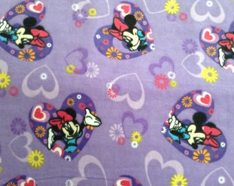 Flannel/Disney/Minnie Mouse on lavender background cotton fabric by the yard